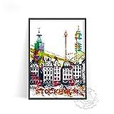 linbindeshoop Cartel de impresión de Acuarela de Ciudad Moderna Venecia Alemania Arte de Pared Las Vegas Estocolmo Budapest Cartel de impresión Sydney Londres Viajes(LT-1536) 40x60cm Sin Marco