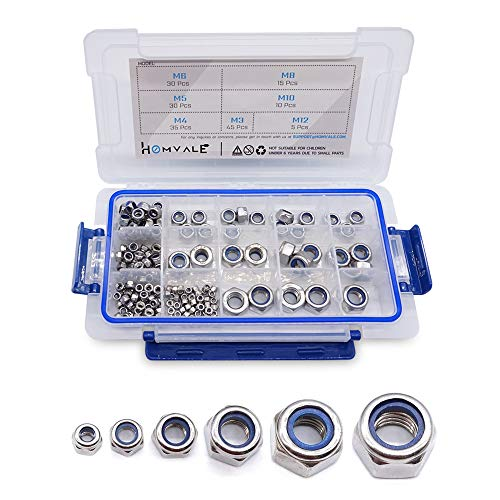 304 Stainless Steel Lock Nut Assortment 170 Pcs, M3 M4 M5 M6 M8 M10 M12 Nylon Insert Locknut