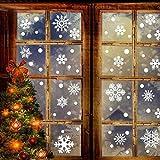 BeesClover - Juego de 76 calcomanías de pared con forma de copo de nieve extraíbles para decoración navideña de ventanas y puertas de vidrio