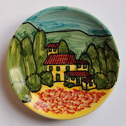 Toskanische Landschaft-Keramikplatte von Hand glasiert und verziert,Durchmesser cm12 hoch cm 2,2-Hergestellt in Italien, Toskana, Lucca, erstellt von Davide Pacini.