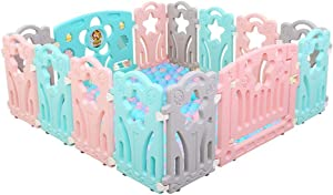 GWFVA Plastic baby park with activity board and protective mats for children  expandable barrier