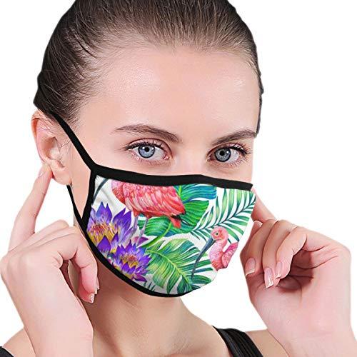Doinh Black Edge Mask, Vogel Op Een achtergrond Van Banaan Palm, En Bloemen En Bladeren, Stof Masker, Geschikt voor Mannelijke En Vrouwelijke Maskers