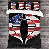 Cobra Star and Stripes Flag GI Joe 3 Pieces Bedding Set Duvet Cover 86'' x70,Queen Decorative 3 Piece Bedding Set with 2 Pillow Shams