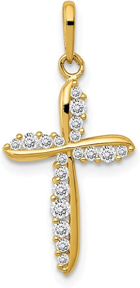 14K Yellow Gold Polished CZ Cross 11.37 23.56 mm 70% OFF Outlet Charm x Max 88% OFF