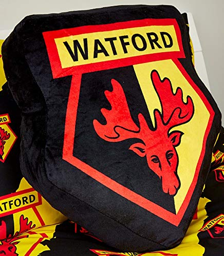 Watford FC Crest Cushion. Officially Licenced Hornets Badge Style In Yellow/Black