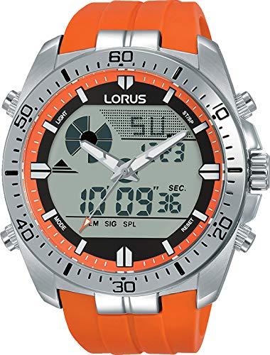 Lorus Sport Herren-Uhr Chronograph Edelstahl mit Silikonband R2B11AX9