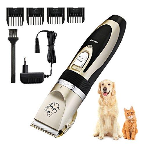 TopElek - Afeitadora eléctrica para mascotas, 4 peines de guía recargable inalámbrico...
