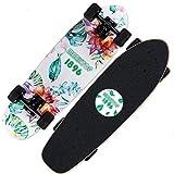LDDLDG Skateboard Enfant Planches à roulettes complète Double Warped 7 Couche d'érable Canadien en U for Les Adolescents Enfants Adultes débutants (Color : White)