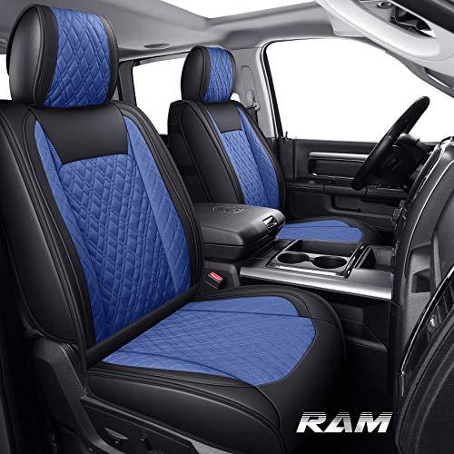 Yiertai Car Seat Covers Full Set Ram Custom Fit 2009-2021 1500 2010-2021 2500 3500 Pickup Truck Crew Double Quad Cab Waterproof Leather Laramie Big Long Horn Rebel Tradesman(Full Set, Black-Blue)