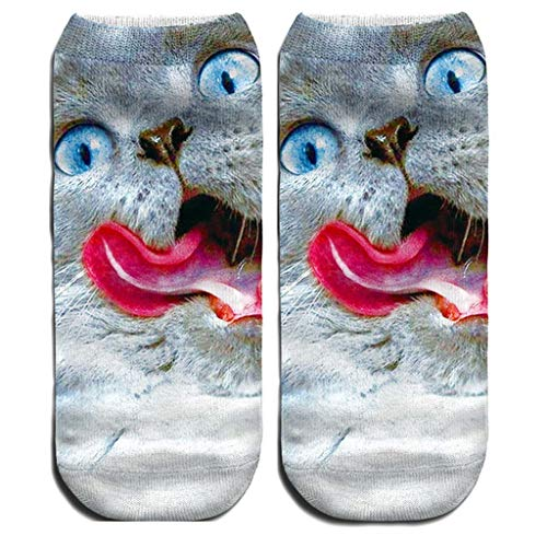 jieGorge Women 3D Novelty Crazy Funny Cat Ankle Socks Cute Colorful Cartoon Cat Boat Sock, Socks, Clothing Shoes & Accessories (D)