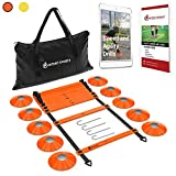 INTENT SPORTS Pro 20ft Speed Agility Ladder & 10 Cones Training Set - Exercise Workout Equipment to...