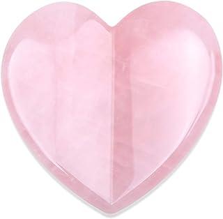 Essential Oil Massage Tool Rose Quartz Heart Shape,Face Roller,Gua Sha Tools, Jade Roller Facial Scraping Massager for Fac...