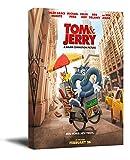 Tom & Jerry - Pintura enmarcada (40,6 x 60,9 cm), diseño de película de anime 2021 para baño, estirada y lista para colgar