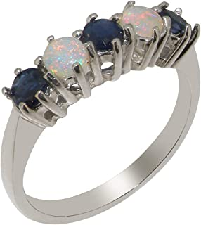 4afb8d1b25ed1b 925 Sterling Silver Natural Sapphire & Opal Womens Eternity Ring - Sizes J  to Z Available