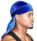 Velvet Du-RAG -Premium Quality- Wave Cap-Durag (Blue)