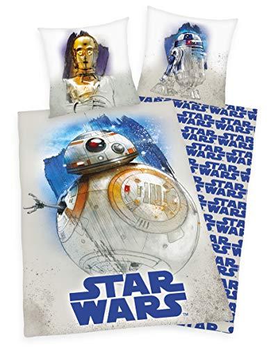 Disney Star Wars 9 Bettwäsche mit C3PO R2D2 BB8 Wendemotiv 80x80 + 135x200 cm 100% Baumwolle