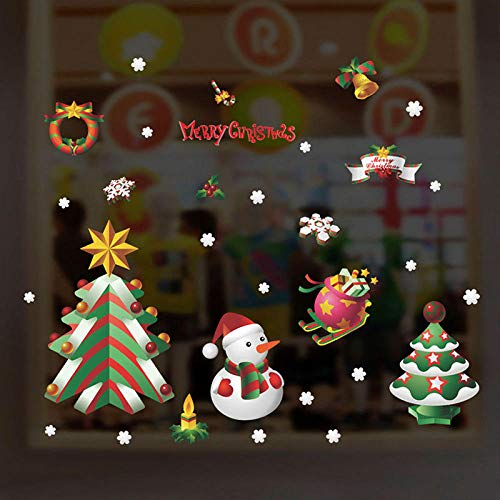 Cooldeerydm Merry Christmas Tree muurstickers voor de decoratie van huis, accessoires, tent, decoratie, glas, PVC, Kerstmis, sneeuwman, DIY Wall Art Poster Multi