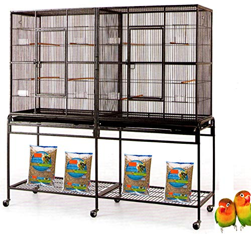 "Mcage Large Double Flight Bird Wrought Iron Double Cage w/Slide Out Divider 3 Levels Bird Parrot Cage Cockatiel Conure Bird Cage 63"" Lx19 Dx64 H W/Stand on Wheels (63"" Lx19 Dx64 H, Black Vein)"