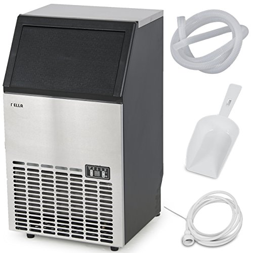 DELLA Commercial Ice Maker Freestand Ice Cube IceMaker Freestanding Machine up to 100 Pound Per Day, Stainless Steel