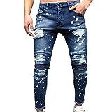 VPASS Pantalones Vaqueros para Hombre,Pantalones Casuales Moda Jeans Sueltos Ocasionales Elásticos Pantalon Fitness Pants Largos Pantalones Ropa de Hombre