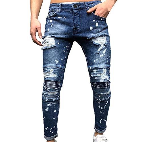 VPASS Pantalones Vaqueros para Hombre,Pantalones Casuales Moda Jeans Sueltos Ocasionales Elásticos Pantalon...