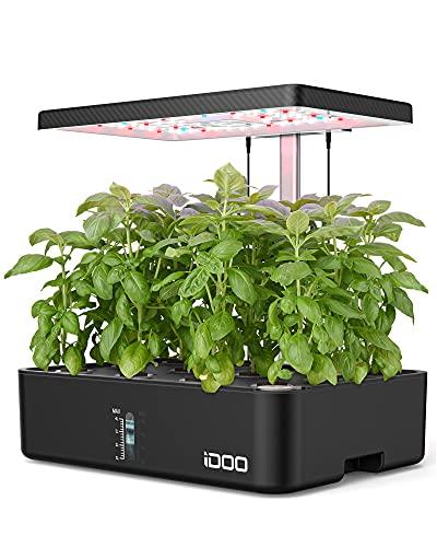 iDOO Giardino Intelligente con LED Lampada da Coltivazione, Giardino Idroponica da Interno, Timer Automatico, Smart Garden con 12 baccelli, Altezza Regolabile, Nero