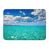 Yilan Alfombra de baño Hermoso Mar Azul Denia Alicante Marineta Casiana Playa en España Comunidad Valenciana Océano Blanco Calma Baño Decoración Alfombra