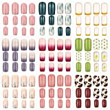 216 Pieces 9 Boxes Medium Square False Nails Fake Nail Tips Glossy French False Nails Gradient Color Fake Nails Full Cover False Nails Press on Artificial Nails for Nail Salon Art (Classic Pattern)