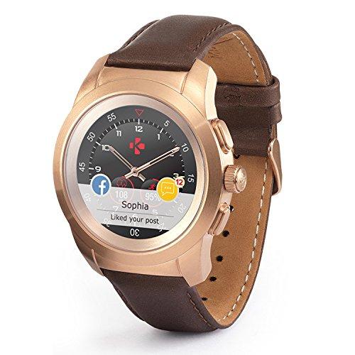 MyKronoz ZeTime Premium Reloj Inteligente híbrido 44mm con Agujas mecánicas sobre una Pantalla a Color táctil – Regular Cepillado Oro Rosa/Cuero Marron