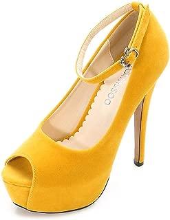 Women's Platform Heels Peep Toe Single Band Ankle Strap Stiletto High Heels Dress Shoes