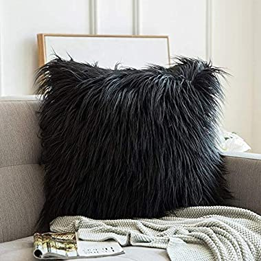 MIULEE Decorative New Luxury Series Style Black Faux Fur Throw Pillow Case Cushion Cover for Sofa Bedroom Car 24 x 24 Inch 60 x 60 cm