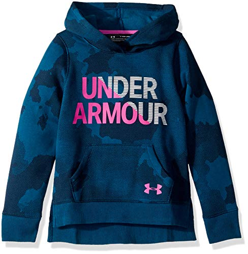 Under Armour Apparel Under Armour Mädchen Girls Rival Hoodie Kapuzenpullover, Techno Teal (490)/Fluo Fuchsia, Youth - X-Small