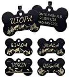 Uiopa Chapa Perro Grabada, Identificador Perro Hueso Personalizada Placa Perro Grabada, Chapa Gato Placas Etiquetas de Identificación de Mascotas para Collar Perro Gato (Negro Árbol, Grande)