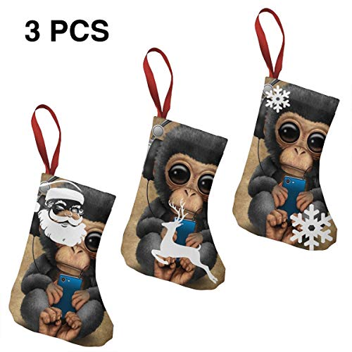 NHJMH Hip Hop Monkey Christmas Stocking 3 Pcs Set, 7.5'' Santa Socks, Sock Sack Gift Bag Christmas Tree Fireplace Ornaments Christmas Reindeer Party Decorations Kids Gifts