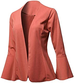 Holzkary Womens Suits Casual Work Office Open Front Blazer Jacket Slim Fit Collarless Bell Sleeve Comfort Cardigan