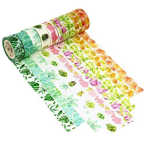 Dawnzen® 9 Rolls Cinta de Papel Washi Cinta 15mm x 5m Adhesiva Decorativa tape, para Decoración DIY Scrapbooking Craft Embalaje de Regalo, Primavera Otoño Planta Flores Hojas Amarillo Rosa Verde