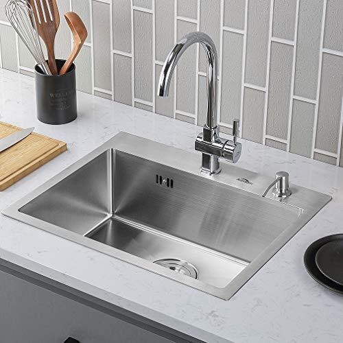 Auralum 55 * 45 * 22cm Waschbecken Spülbecken Küchenspüle Handwaschbecken Edelstahl Wasche Becken Edelstahlspüle 304 Edelstahl Auflagespüle(keine Wasserhahn) Type A
