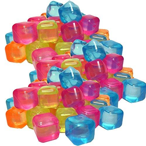 trends4ever 50 Eiswürfel bunt gemixt Party wiederverwendbar Eiswürfelform Kunststoff Dauereiswürfel
