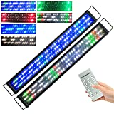 KZKR Upgraded Aquarium Light 36-48 inch Remote Control Multi-Color LED Hood Lamp Dimmable Timing for Freshwater Marine Plant Fish Tank Light Decorations