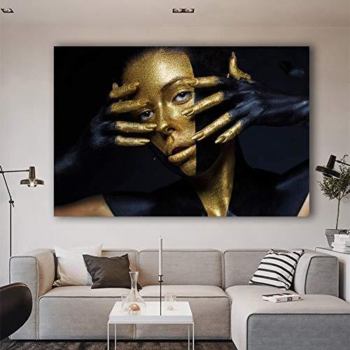 Cuadro de Retrato de Chica Dorada con Fondo Negro Abstracto Pintura en Lienzo para Pared de Sala de Estar decoración del hogar sin Marco 30x45cm