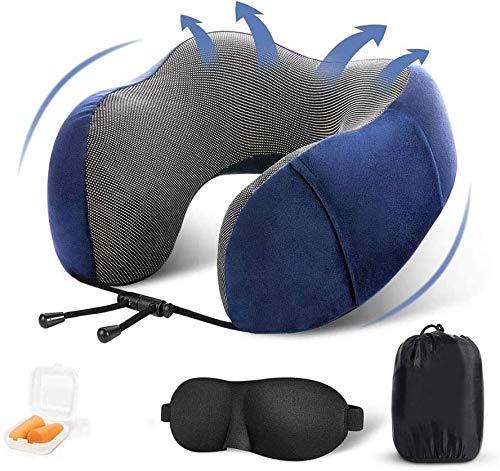 ZouYongKang Almohada de viaje Mejor 100% puro Memoria de espuma con cuello de espuma Cabeza de soporte de almohada suave y cómoda con la máquina lavable para el descanso para dormir, kit de viaje de a