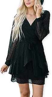 AOOKSMERY Women Cute V Neck Long Sleeve Mini Dresses Solid Polka Dot Swing Dress with Belt Side Zipper