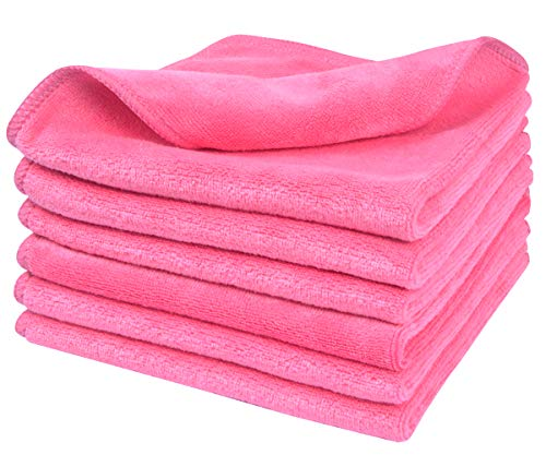 Sinland Microfiber Facial Cloths Fast Drying Washcloth 12inch x 12inch Dark pink 6 pack