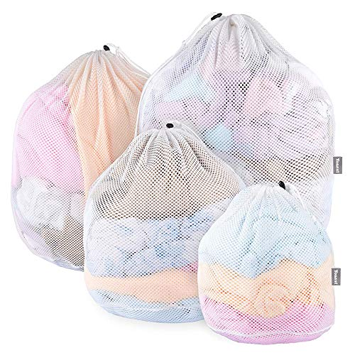 Yoassi [Upgraded Version] 4 Stück Wäschesack ohne Fluoreszenz mit Kordelstopper Wäschebeutel Wäschenetze für Waschmaschine, Unterwäsche, Babywäsche, Socken, Kaschmir