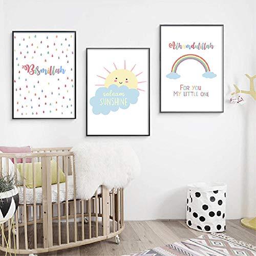YDGG islamitisch schilderij Little moslim Nursery muurkunst poster bedrukt kinderkamer picture Home Decor-50 x 70 cm x 3 delen zonder lijst
