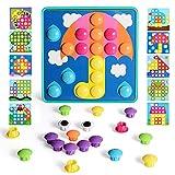 Juego de mosaico con 46 perlas y 10 mosaicos coloridos para niños a partir de 2 años, juego educativo de bloques de construcción, color verde