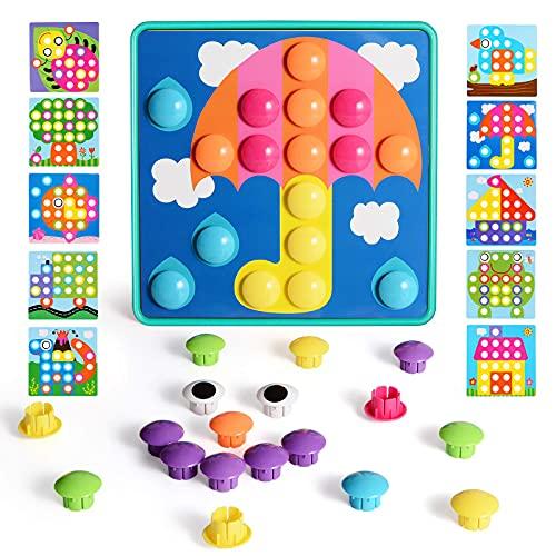 Mosaik Steckspiel mit 46 Steckperlen und 10 Bunten Steckmosaik für Kinder ab 2 Jahre Steckspielzeug Pädagogische Baustein Sets Lernspielzeug Grün