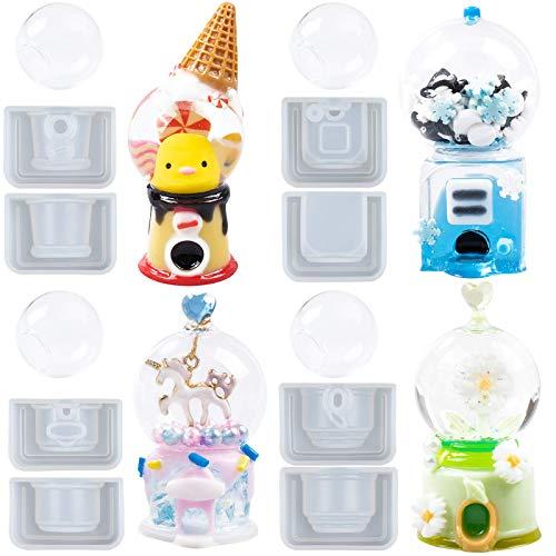 FUNSHOWCASE Juego de moldes de resina para mezcladores con burbujas de vidrio para joyería epoxi, juguetes en miniatura, juego de casas de muñecas de 9 pulgadas, mini 2 pulgadas