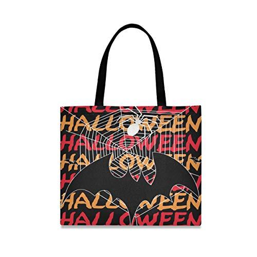 Alarge Fledermaus-Spinnennetz, Halloween-Zitat, Canvas, groß, lässig, Schule, Einkaufen, Schultertasche, Einkaufstasche, Handtasche mit langen Griffen für Frauen und Mädchen