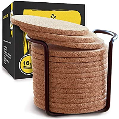 """Natural Cork Coasters With Round Edge 4 inches 16pc Set with Metal Holder Storage Caddy – 1/4"""" Thick Plain Absorbent Heat-Resistant Reusable Saucers for Cold Drinks Wine Glasses Plants Cups & Mugs"""